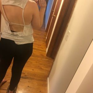 Open back cream / white workout tank